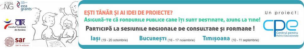 APEL DE ÎNSCRIERE PENTRU SESIUNILE REGIONALE DE: Dialog și consultare cu tinerii și formare a tinerilor implicați în ONGT-uri, în domeniul accesării și monitorizării fondurilor publice de tineret